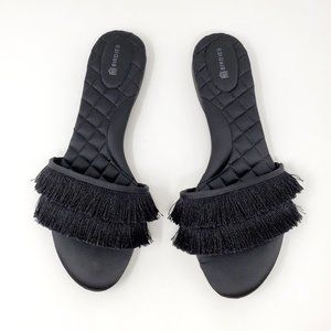 Birdies Sparrow Black Slide Sandals 10.5 Fringe
